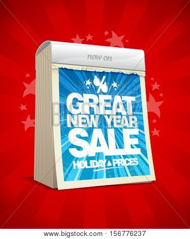 Great new year sale poster concept, tear-off calendar, winter holiday prices banner