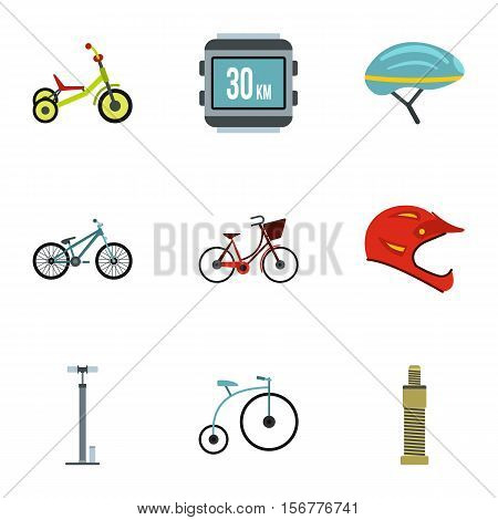 Race cycling icons set. Flat illustration of 9 race cycling vector icons for web
