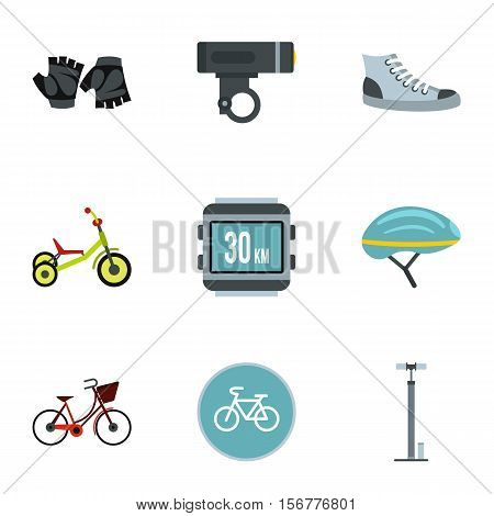 Cycling icons set. Flat illustration of 9 cycling vector icons for web