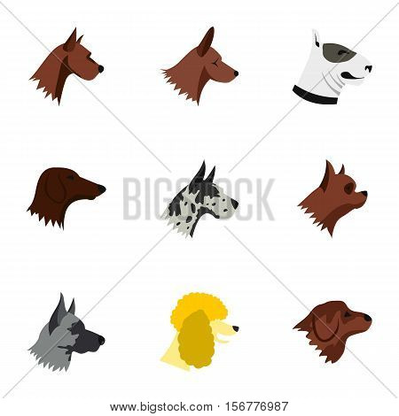 Doggy icons set. Flat illustration of 9 doggy vector icons for web