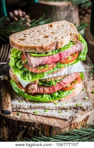 Sandwich With Meat And Vegetables For Woodcutter