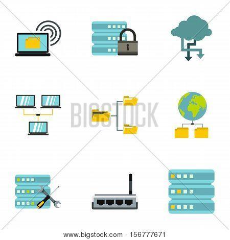Data storage icons set. Flat illustration of 9 data storage vector icons for web