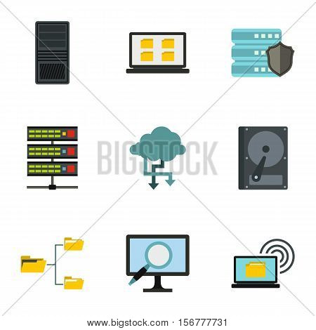 Data protection icons set. Flat illustration of 9 data protection vector icons for web