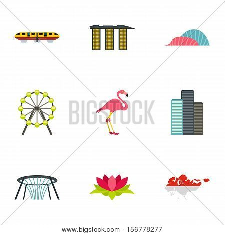 Singapore icons set. Flat illustration of 9 Singapore vector icons for web