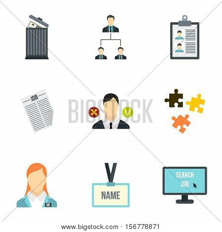 Job search icons set. Flat illustration of 9 job search vector icons for web