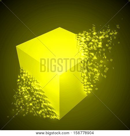 dissolving cube shape illustration. glowing yellow version