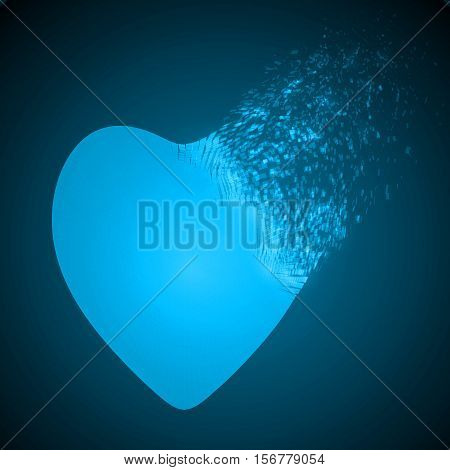 dissolving heart shape illustration. glowing blue version