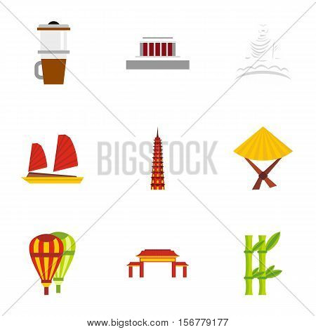 Country Vietnam icons set. Flat illustration of 9 country Vietnam vector icons for web