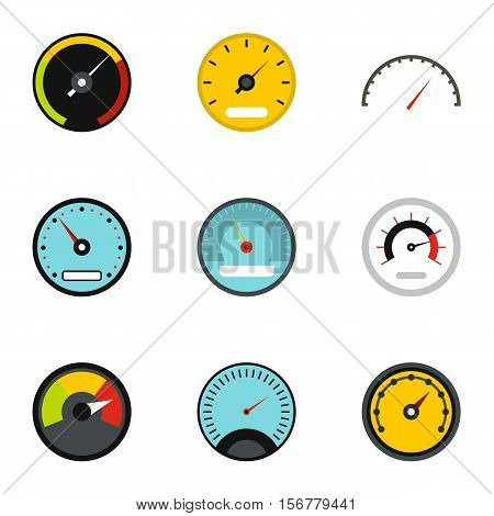 Speedometer for transport icons set. Flat illustration of 9 speedometer for transport vector icons for web