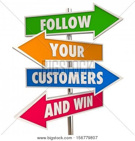 Follow Your Customers and Win Signs Meet Needs 3d Illustration