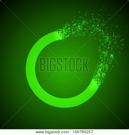 dissolving torus shape illustration. glowing green version