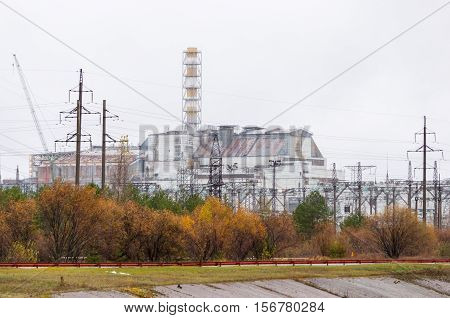 Chernobyl nuclear power plant. Without new safe confinement. Reactor number 4 four. Old destroyed sarcophagus, cover or object shelter. Ukraine.