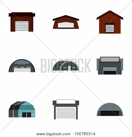 Types of garages icons set. Flat illustration of 9 types of garages vector icons for web