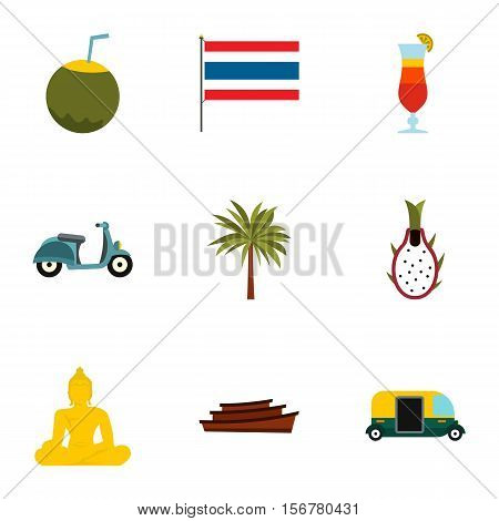 Thailand icons set. Flat illustration of 9 Thailand vector icons for web