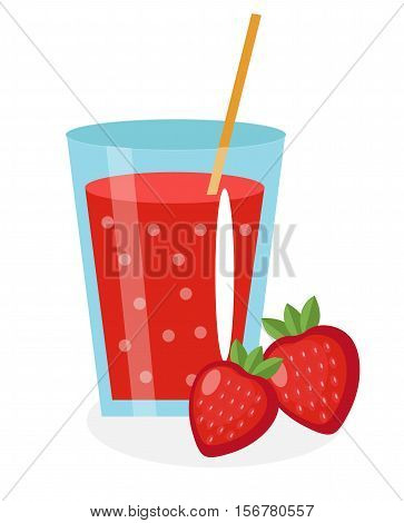 Strawberry juice in a glass. Fresh strawberry juice isolated on white background. Fresh fruit and juice icon. Strawberry drink, fruit compote. Strawberry cocktail. Vector illustration