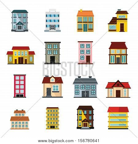 Buildings set in cartoon flat style isolated on white background vector stock illustration