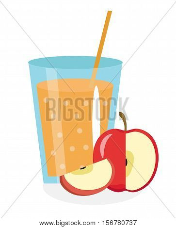 Apple juice in a glass. Fresh apple juice isolated on white background. Fresh fruit and juice icon. Apple drink, fruit compote. Cider cocktail. Vector illustration