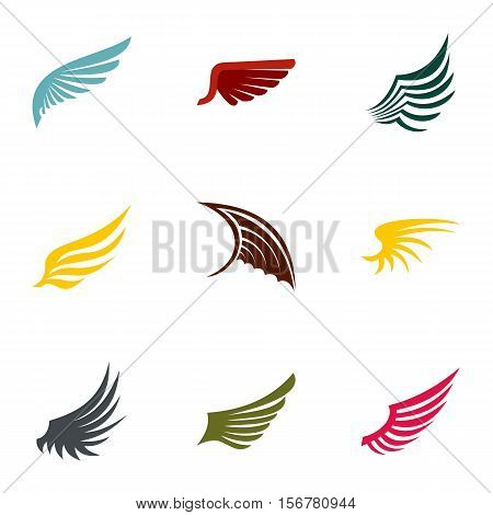 Feather wings icons set. Flat illustration of 9 feather wings vector icons for web