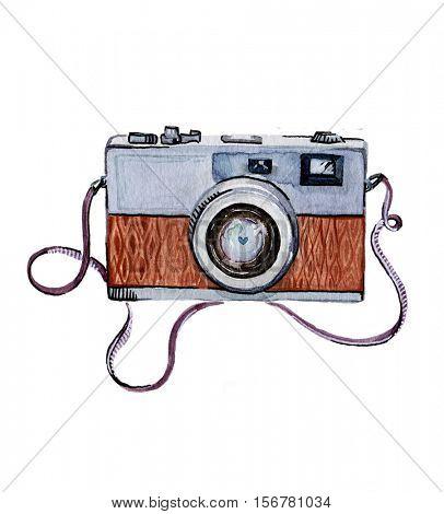 Watercolor illustration - Retro photo camera