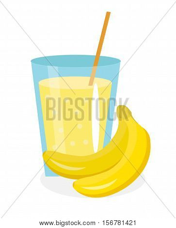 Banana juice in a glass. Fresh banana juice isolated on white background. Fresh fruit and juice icon. Banana drink, fruit compote. Banana cocktail smoothie. Vector illustration