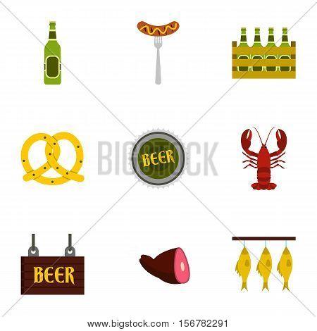 Alcoholic beverage icons set. Flat illustration of 9 alcoholic beverage vector icons for web