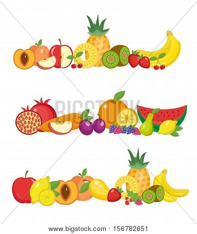 Fruits banner set. Fruits and berries horizontal poster. Fruits collection template for restaurant menu, vegetarian food, diet food. Vector illustratio