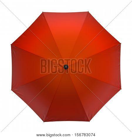Orange autumn umbrella isolated on white background. 3D illustration