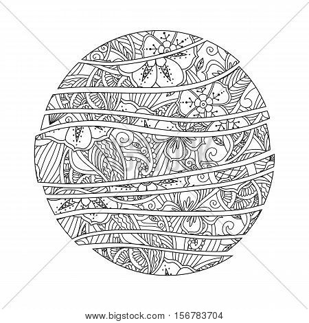 Mendie Mandala. Abstract wave circle with flowers and leaves ornament. Zenart inspired style. Can be used for coloring book. Art vector illustration