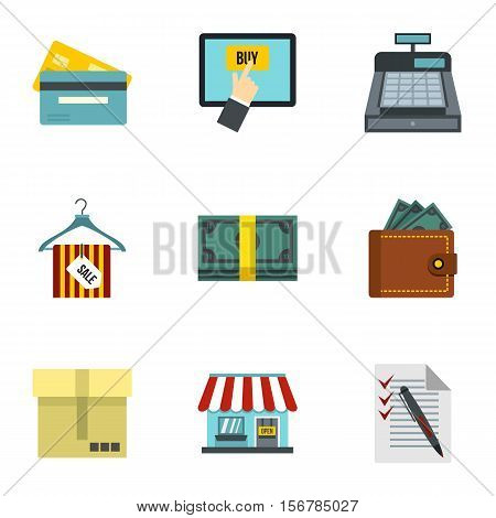 Supermarket buying icons set. Flat illustration of 9 supermarket buying vector icons for web