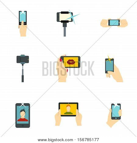 Photography on smartphone icons set. Flat illustration of 9 photography on smartphone vector icons for web