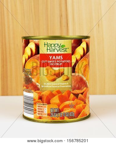 RIVER FALLS,WISCONSIN-NOVEMBER 15,2016: A can of Happy Harvest brand sweet potatoes in syrup.