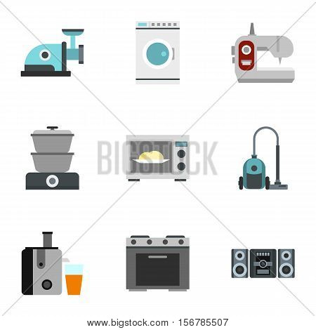 Home appliances icons set. Flat illustration of 9 home appliances vector icons for web