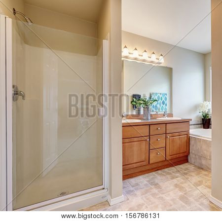 Bathroom Interior With A Shower And Bath Tub.