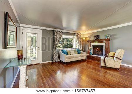 Living Room Interior With Polished Hardwood Floor