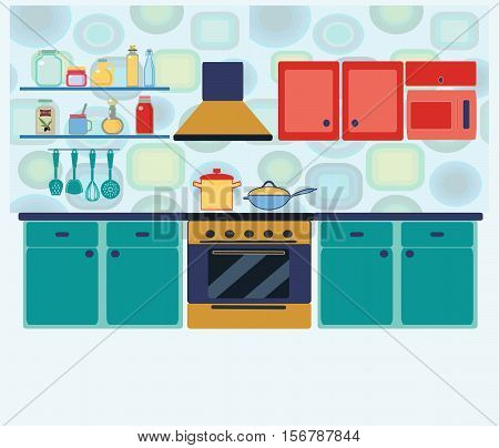 Kitchen with furniture set. Cozy kitchen interior with table cupboard and dishes. Flat style vector illustration interior kitchen with cooking equipment in geometric background