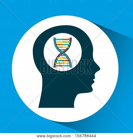 silhouette head dna molecule lab work vector illustration eps 10