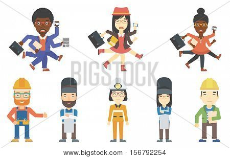 Businessman coping with multitasking. Man having skills of multitasking. Businessman doing multiple tasks. Multitasking concept. Set of vector flat design illustrations isolated on white background.