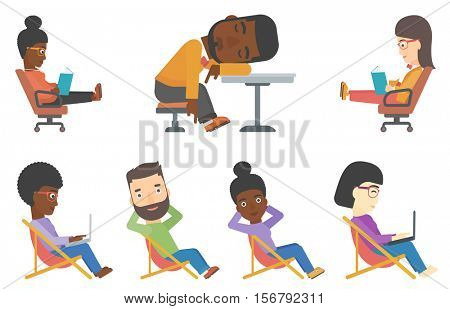 Business woman working outdoor. Business woman sitting in chaise lounge and working on a laptop. Business woman works remotely. Set of vector flat design illustrations isolated on white background.