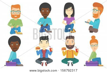 Sad man sitting on floor and eating hamburger and drinking soda. Sorrowful man eating fast food. Unhappy man looking at fast food. Set of vector flat design illustrations isolated on white background.