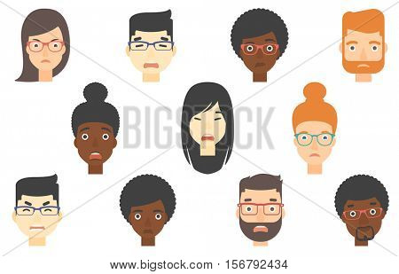 Set of people of various ethnicity expressing facial emotions. Scared faces with open mouths. Set of people with scared faces. Set of vector flat design illustrations isolated on white background.