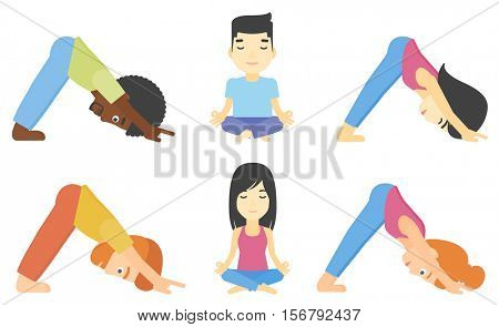 People standing in yoga downward facing dog pose. Woman meditating in yoga lotus pose. Man doing yoga. Woman practicing yoga. Set of vector flat design illustrations isolated on white background.
