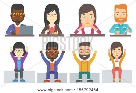 Successful excited businessman sitting with raised hands up. Happy businessman with raised arms. Business woman enjoying success. Set of vector flat design illustrations isolated on white background.