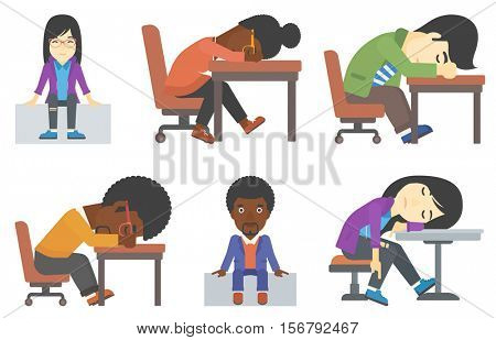 Lazy employee fell asleep during working day. Sloth office worker sleeping at the table. Lazy businessman relaxing at the office. Set of vector flat design illustrations isolated on white background