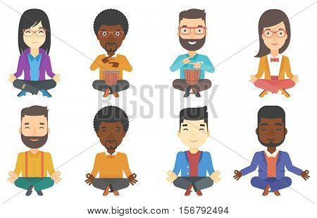 Businessman meditating in yoga lotus position. Business woman relaxing in the yoga lotus position. Business woman doing yoga. Set of vector flat design illustrations isolated on white background.