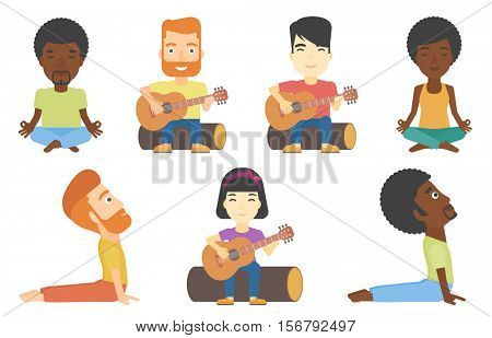 Tourist sitting on a log and playing an acoustic guitar. Tourist practicing in playing guitar. Tourist playing guitar in the camp. Set of vector flat design illustrations isolated on white background.