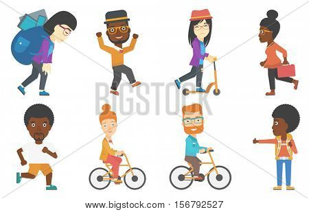 Business woman riding a bicycle. Cyclist riding a bicycle. Business woman with briefcase on a bicycle. Healthy lifestyle concept. Set of vector flat design illustrations isolated on white background.
