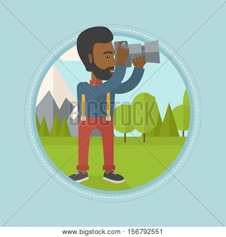 African photographer taking photo of landscape. Photographer taking picture in mountains. Nature photographer with digital camera. Vector flat design illustration in the circle isolated on background.