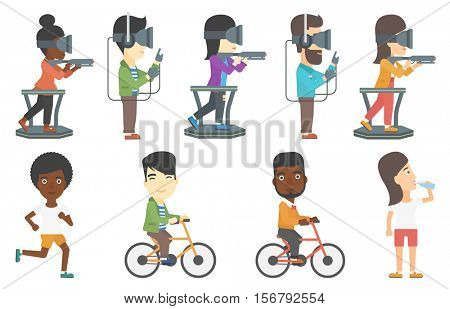Gamer wearing virtual reality headset. Young gamer playing virtual video game while standing on a treadmill with a gun in hands. Set of vector flat design illustrations isolated on white background.