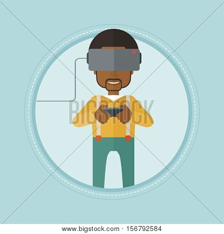 An african-american man wearing a virtual reality headset. Young happy gamer playing video game with game controller in hands. Vector flat design illustration in the circle isolated on background.