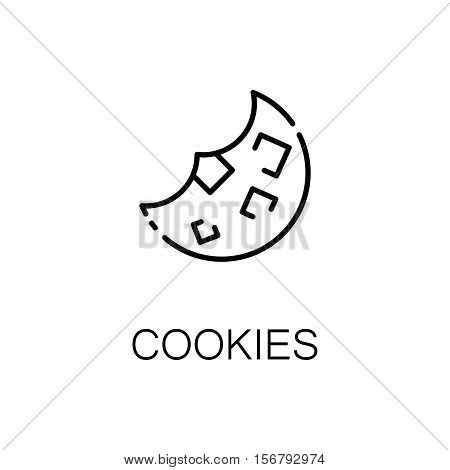 Cookies flat icon. Single high quality outline symbol of bakery for web design or mobile app. Thin line signs of cookies for design logo, visit card, etc. Outline pictogram of cookies